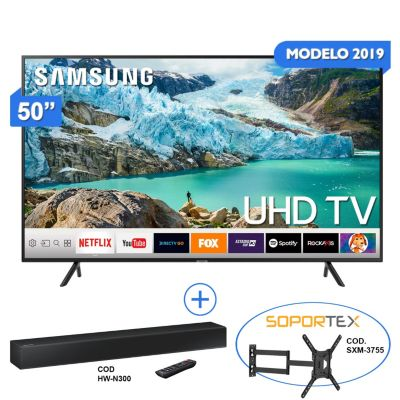 Televisor Smart LED 4K Ultra HD 50'' 50RU7100SR + Sound Bar HW-N300 80W + Rack