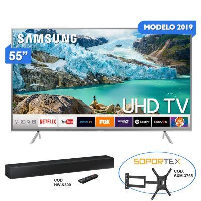 Televisor Smart LED 4K Ultra HD 55'' 55RU7150SR + Sound Bar HW-N300 80W + Rack