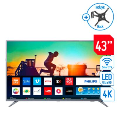Televisor Smart LED 4K Ultra HD 43'' 43PUD6513R + Rack