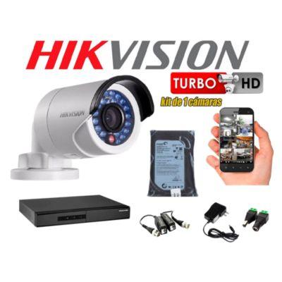 Kit 1 Cámara de Seguridad Tubo HD 720P Disco 500GB