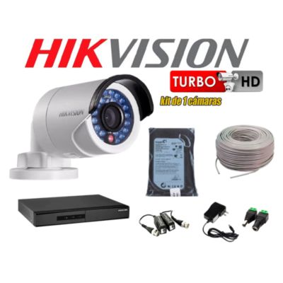Kit 1 Cámara de Seguridad HD 720P Disco 500GB Completo