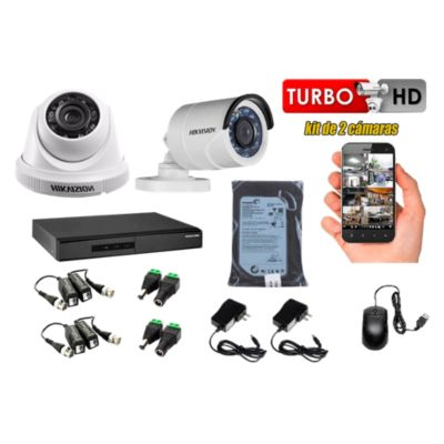 Kit 2 Cámaras de Seguridad HD 720P Disco 500GB