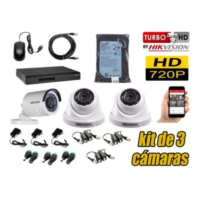 Kit 3 Cámaras de Seguridad HD 720P Disco 500GB