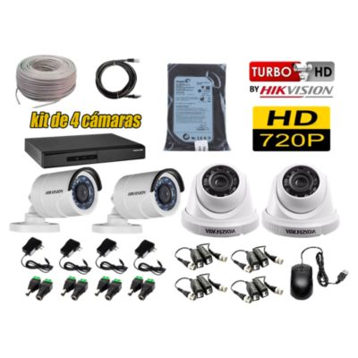 Kit 4 Cámaras de Seguridad HD 720P Disco 500GB Completo