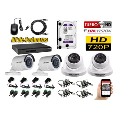 Kit 4 Cámaras de Seguridad HD 720P Disco 1TB WD