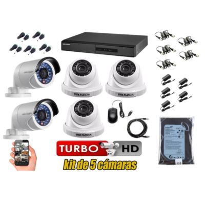 Kit 5 Cámaras de Seguridad HD 720P Disco 500GB