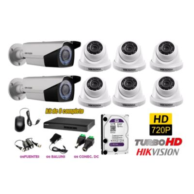 Kit 8 Cámaras de Seguridad HD 720P Varifocal Disco 1TB WD