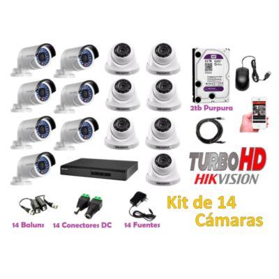 Kit 14 Cámaras de Seguridad HD 720P Disco 2TB WD