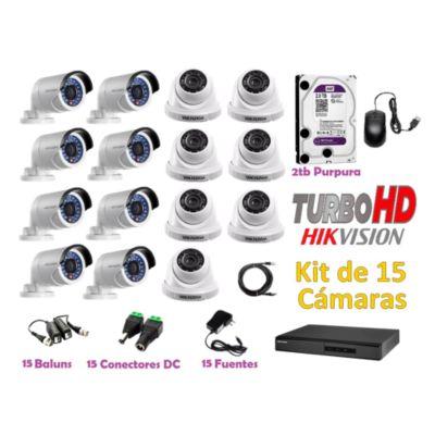Kit 15 Cámaras de Seguridad HD 720P Disco 2TB WD
