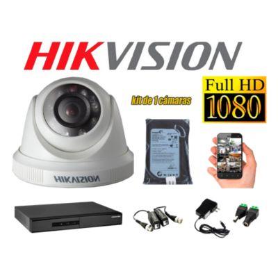 Kit 1 Cámara de Seguridad Domo FULLHD 1080P Disco 500GB