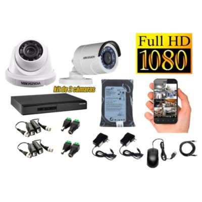 Kit 2 Cámaras de Seguridad FULLHD 1080P Disco 500GB