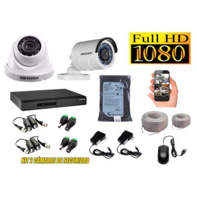 Kit 2 Cámaras de Seguridad FULLHD 1080P Disco 500GB Completo
