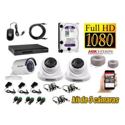 Kit 3 Cámaras de Seguridad FULLHD 1080P Disco 1TB WD Completo