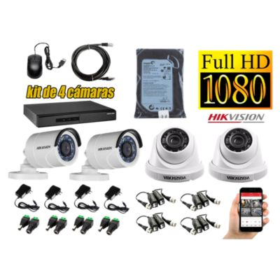 Kit 4 Cámaras de Seguridad FULLHD 1080P Disco 500GB