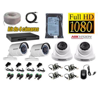 Kit 4 Cámaras de Seguridad FULLHD 1080P Disco 500GB Completo
