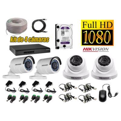 Kit 4 Cámaras de Seguridad FULLHD 1080P Disco 1TB WD Completo
