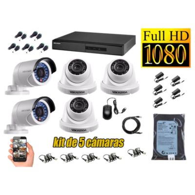 Kit 5 Cámaras de Seguridad FULLHD 1080P Disco 500GB