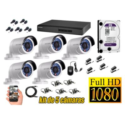 Kit 5 Cámaras de Seguridad Exterior FULLHD 1080P Disco 1TB WD