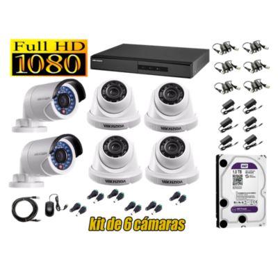 Kit 6 Cámaras de Seguridad FULLHD 1080P Disco 1TB WD
