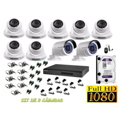 Kit 9 Cámaras de Seguridad FULLHD 1080P Disco 1TB WD