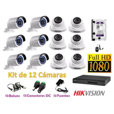 Kit 12 Cámaras de Seguridad FULLHD 1080P Disco 1TB WD