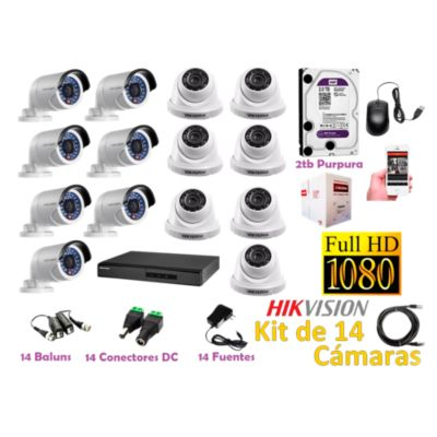 Kit 14 Cámaras de Seguridad FULLHD 1080P Disco 2TB WD Completo