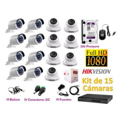 Kit 15 Cámaras de Seguridad FULLHD 1080P Disco 2TB WD Completo