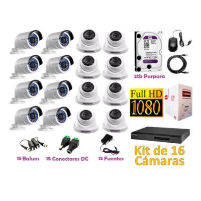 Kit 16 Cámaras de Seguridad FULLHD 1080P Disco 2TB WD Completo