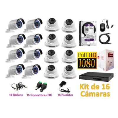 Kit 16 Cámaras de Seguridad FULLHD 1080P Disco 3TB WD Completo