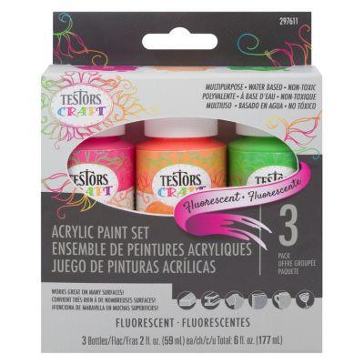 Set de 3 Pinturas Acrílicas Colores Fluorescentes