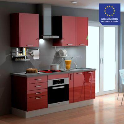 Mueble de Cocina Modular Laminado HPL 199 cm Burdeos