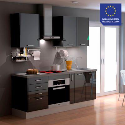 Mueble de Cocina Modular Laminado HPL 199 cm Negro