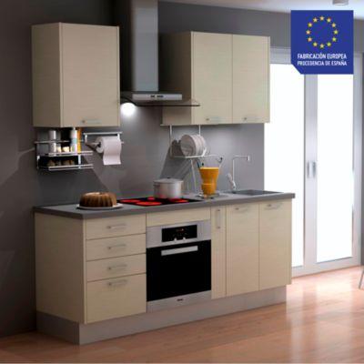 Mueble de Cocina Modular Laminado DPL 199 cm Blanco Madera