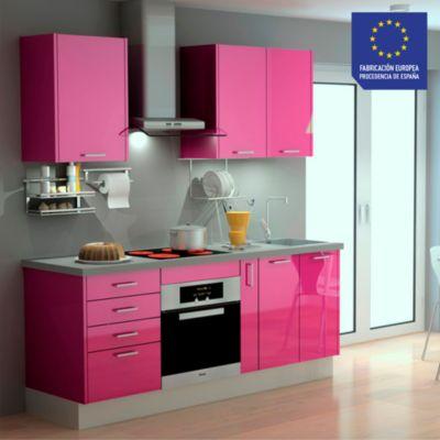 Mueble de cocina modular High Gloss 199 cm Berenjena