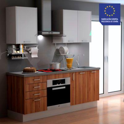 Mueble de Cocina Modular Laminado DPL 199 cm Nogal / Blanco