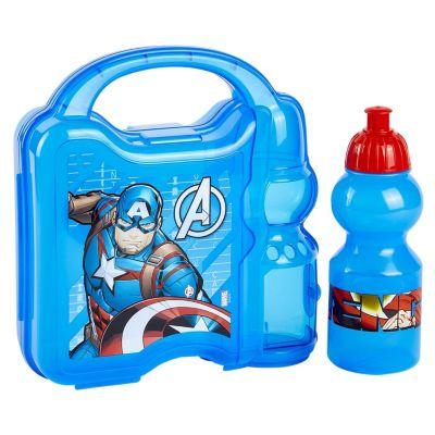 Set Hermético + Botella 350ml Capitán América