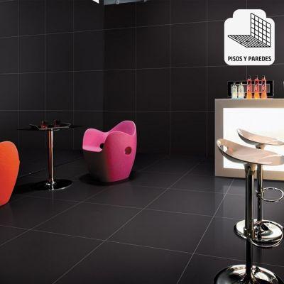 Porcelanato Súper Negro Liso 60x60 cm para piso o pared