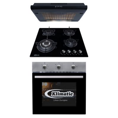 Tricombo Cocina Empotrable Nina 60 Pro + Horno Empotrable a Gas Lubeck Bc + Campana 60cm IWH101NE/M