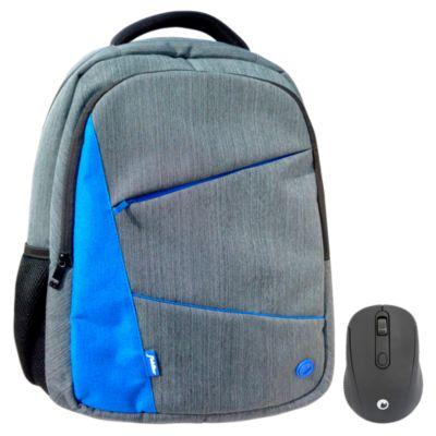Mochila para Laptop 15'' Azul + Mouse Inalámbrico Negro
