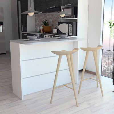 Barra Auxiliar de Cocina Fendi Cemento/Blanco