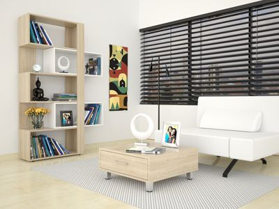 Biblioteca Cubo + Mesa de Centro Rovere