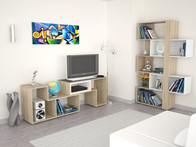 Rack Extensible TV 40'' + Biblioteca Cubo Rovere