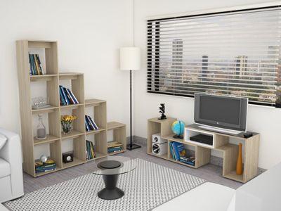 Rack Extensible TV 40'' + Biblioteca Escalera Rovere