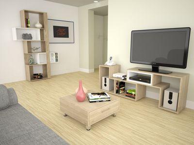 Rack Extensible TV 40'' + Biblioteca Cubo + Mesa de Centro Rovere