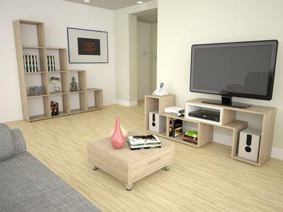 Rack Extensible TV 40'' + Biblioteca Escalera + Mesa de Centro Rovere