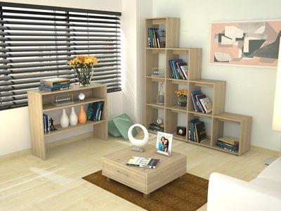 Biblioteca Escalera + Arrimo + Mesa de Centro Rovere