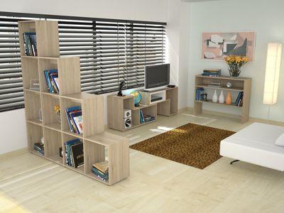 Rack Extensible TV 40'' + Biblioteca Escalera + Arrimo Rovere