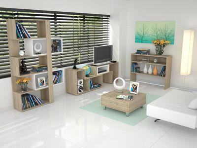Rack Extensible TV 40'' + Biblioteca Cubo + Arrimo + Mesa de Centro Rovere