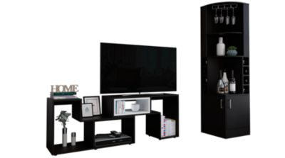 Bar Esquinero Kava + Rack Extensible TV 40'' Beijing Wengue/Blanco