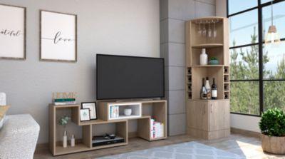 Bar Esquinero Kava + Rack Extensible TV 40'' Beijing Rovere/Blanco